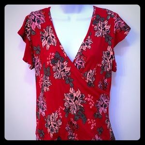 Hot Kiss red floral wrap shirt